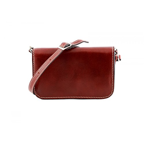 Color Italy Bag Leather Red Mini Leather Made Vegetable Woman Crossbody Tuscan In Tanned Genuine Bag zFw5UCqx