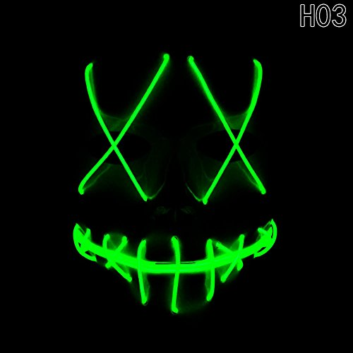 Scary Halloween Masks (Scary Mask Halloween Cosplay Led Costume Mask El Wire Light Up Mask for Halloween Festival Parties)