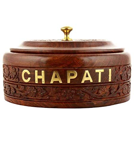 A Wood Art Handmade Wooden Chapati Box Roti Box Bread Serving Bowl for Chapati   Sheesham Wood & Stainless Steel Serving…