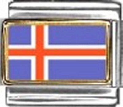 Iceland Photo Flag Italian Charm Bracelet Jewelry - 9mm Charm Italian New Photo