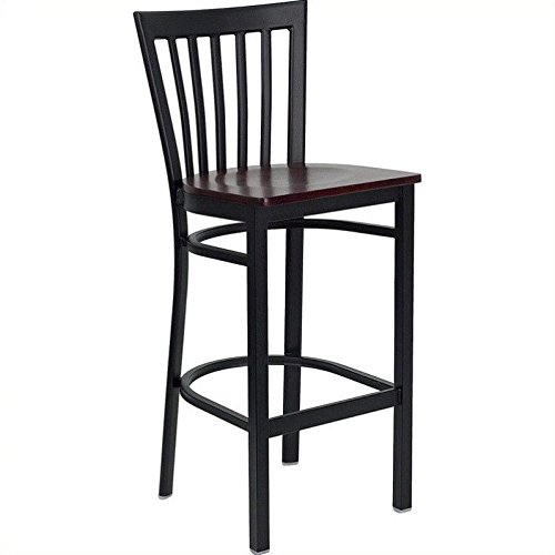 Flash Furniture HERCULES Series Black School House Back Metal Restaurant Barstool - Mahogany Wood Seat