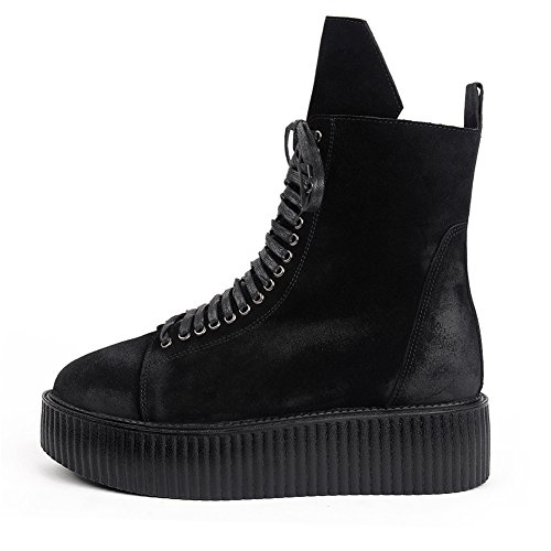 Plateaforme Top Martin Cuir Lacets High Chaussures Bottes Punk Creeper Homme BntOqwgn