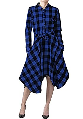 SimWish Women's New Plaid Long Sleeve Casual Swing Shirt Dress With Belt