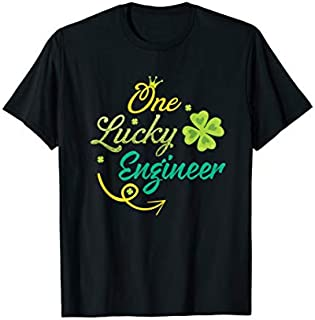 Cool Gift One Lucky Engineer  St Patricks day Engineer Gift Women Long Sleeve Funny Shirt / Navy / S - 5XL