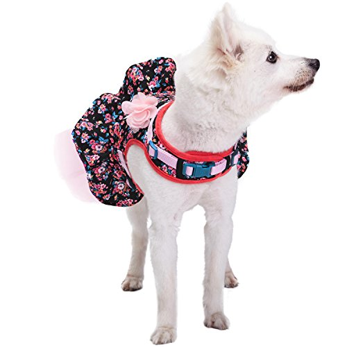 Image of Blueberry Pet New Soft & Comfy Spring Made Well Elegant Floral No Pull Mesh Dog Costume Harness Dress in Sleek Black, Chest Girth 19