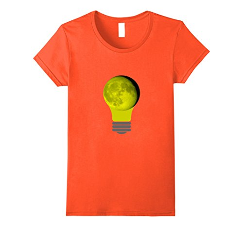 Lightbulb Costumes (Womens Halloween Costume Moon Light Bulb Shirt Medium Orange)