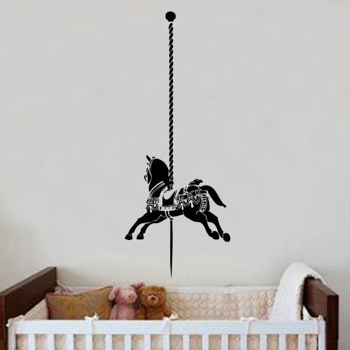 Nursery Carousel Horse Decal Wall Sticker Art Kids Girls Bedroom 60cm x 152cm by Kult Kanvas