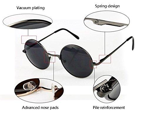 Noir de rond Gris Rétro lunettes soleil cadre classique conception hippy Hellomiko punk cadre métal en printemps Zx6YRnn4