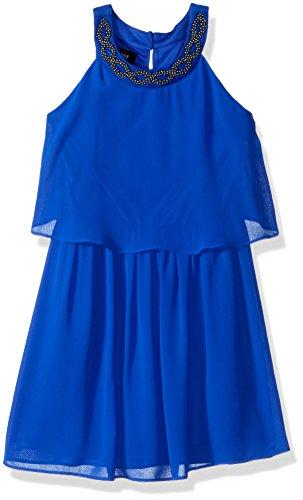 Popover Dress with Embellished Neckline, Neon Cobalt, 12 ()