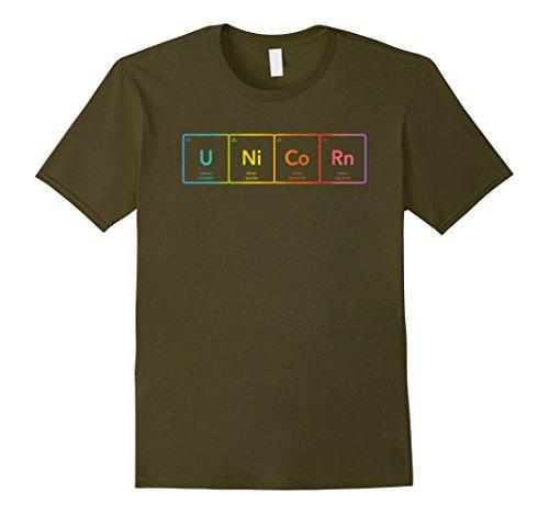 Element Costume Ideas (Mens Periodic Table of Elements Rainbow Unicorn T-Shirt 3XL Olive)