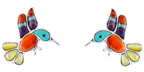 Coral Purple Earrings - Turquoise Earrings 925 Sterling Silver & Genuine Gemstones (Hummingbirds)
