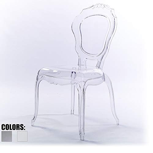 2xhome - Plastic Chair No Arm Side Chair With Back Clear Legs Dining Chair