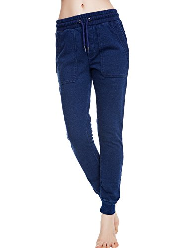 icyzone Women Sweatpants Joggers Activewear Workout Running Pants with Pockets (L, Navy)