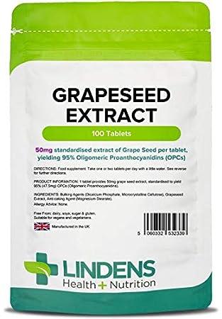 Lindens Extracto de semilla de uva 50 mg en comprimidos | 100 Paquete | Contiene proantocianidinas oligoméricas (OPC) y otros compuestos polifenólicos: ...