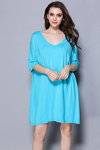 Femme Bleu Acmede Modal Courte 3 4 De Robe Loose Taille Nuit Chemise Manche fwqR6