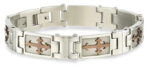 Cold Steel Stainless Steel and Brown Immersion Plated Cross Inset Men's Bracelet