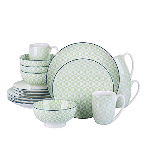 VANCASSO Porcelain Ceramic Dinnerware Set for 4, Green Pattern Serving Set of Series Midori with Cup Bowl Plates Platters for Family Dinner, Party, Feast, 16-Pieces, Green