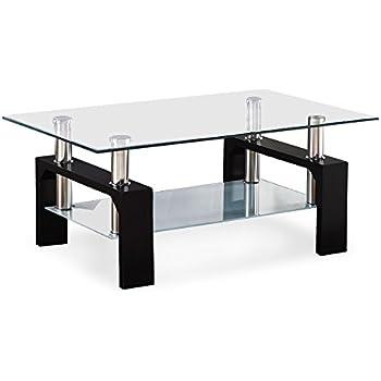 Virrea Rectangular Glass Coffee Table Shelf Wood Living Room Furniture Chrome Base Black