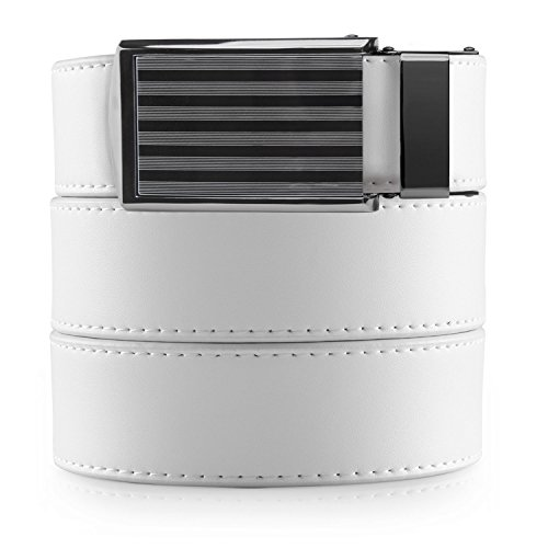 SlideBelts Men's Classic Belt with Premium Buckle (White Leather with Bar-Striped Buckle (Vegan), One Size)