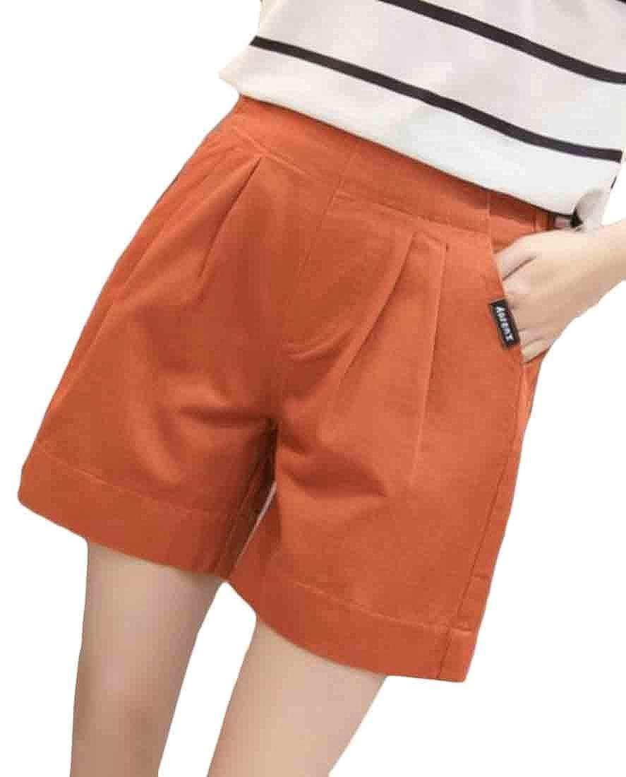 pipigo Womens Classic Elastic Waist Pocket Pleated A Line Wide Leg Short Pants