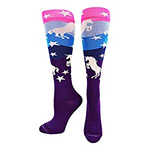 MadSportsStuff Neon Unicorn Socks Over The Calf