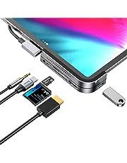 موزع USB C لجهاز iPad Pro، محطة توصيل iPad Pro ، محول USB من الألومنيوم 6 في 1 لجهاز iPad Pro Dongle USB من النوع C مع HDMI 4K ، شحن USB-C PD ، قارئ بطاقات SD/Micro ، USB 3.0 و 3.5 مم مقبس سماعة رأس