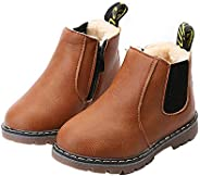 EsTong Baby Fur Lined Leather Boots Anti-Slip Winter Snow Booties for Toddler Boys Girls