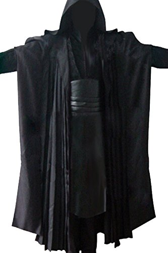 Allten Men's Cosplay Costume Black Linen Cotton Halloween Uniform Tunic Robe XXXL