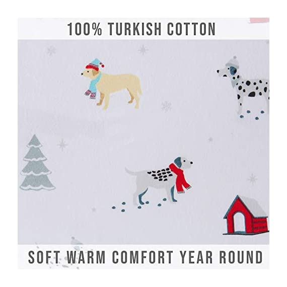 Great Bay Home Extra Soft Printed 100% Turkish Cotton Flannel Sheet Set. Warm, Cozy, Luxury Winter Bed Sheets. Belle Collection (Twin, Pups in The Snow) - TOP QUALITY, AFFORDABLE PRICE: Our premium flannel bed sheets enhance the comfort level of any bed! Mutli-purpose, versatile and extremely high-quality at an unbeatable value. Each set includes 1 fitted sheet, 1 flat sheet and 2 pillowcases (1 pillowcase for Twin size). SUPER SOFT WARMTH: Feel the difference in our 170 GSM 100% Turkish Cotton FLANNEL. These are the BEST WINTER SHEETS you'll ever own! They're SOFT, COZY, WARM, GENTLE and BREATHABLE. Stay warm and toasty on the coldest nights and sleep better than ever. Available in a variety of PRINTED PATTERNS for you to choose from. PERFECT FIT EVERY TIME: These DEEP POCKET sheets come with fully elasticized fitted sheets that fit mattresses up to 17 inches deep. See below for exact measurements. EASY CARE AND EASY WASH: Machine washable, wrinkle resistant, fade resistant, shrink resistant & pill resistant. Extremely DURABLE and LONG LASTING. - sheet-sets, bedroom-sheets-comforters, bedroom - 41SHOiQHG8L. SS570  -