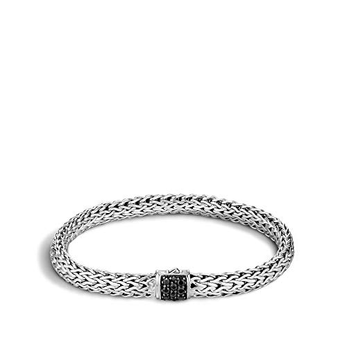 John Hardy Women's Classic Chain Silver Lava Small Bracelet with Black Sapphire, Size S Large ()