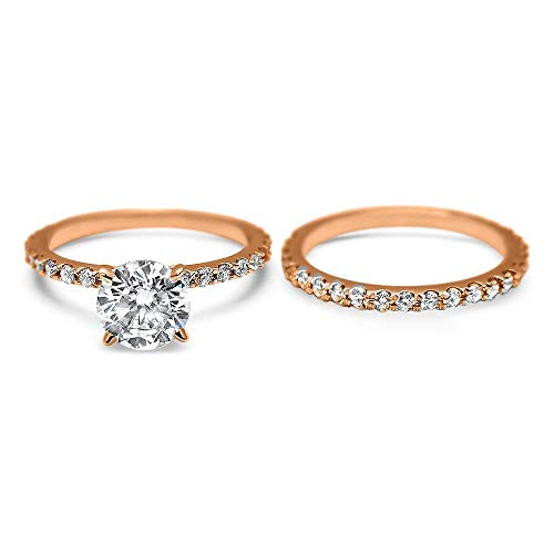 14k Rose Gold 4 prong claw head Forever ONE Hearts & Arrows Round Moissanite bridal set Engagement and Wedding