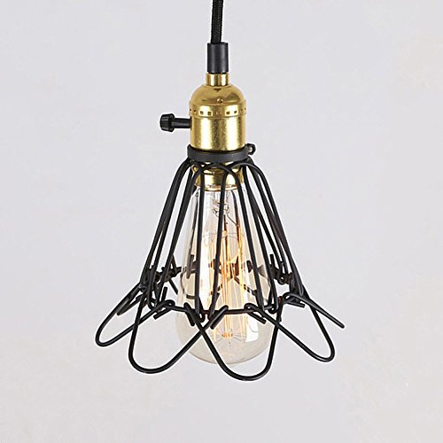 Industrial Vintage Pendant Light,ZHMA Cage Deign with On/Off Switch, Modern Indoor Ceiling Lighting Fixture E26/E27