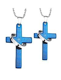 Kamellusone Couple Fashion Religion Titanium Steel Scripture Cross Pendant Chain Necklace