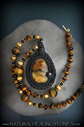- Simbircite pendant wrapped in leather on a necklace made of pearl and tigers eye ~ONE OF A KIND JEWELRY FOR THE MEDITATIVE SPIRIT~ Free Shipping