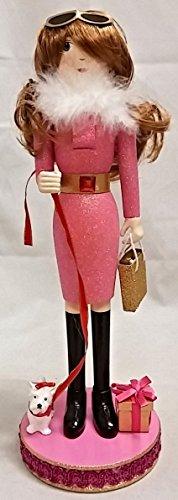 Pink Shopping Girl Holding Purse Wooden Christmas Nutcrac...