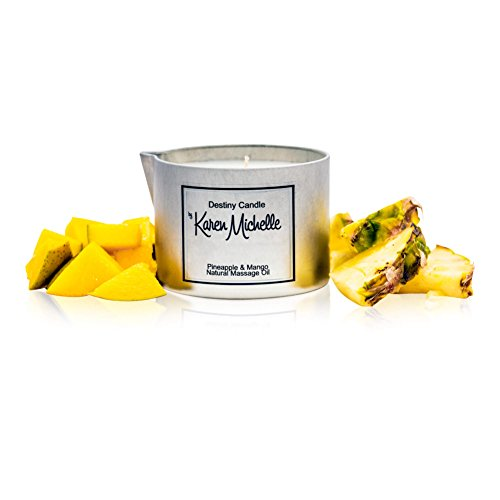 Pineapple Mango Scented Massage Oil Candle - Pineapple Mango Aromatherapy | Destiny Candle by Karen Michelle | Beautiful Piece of Jewelry Inside | Perfect Way to Rekindle The Romance