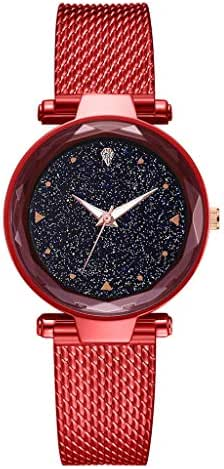 AmazingDays Women's Watch Simple Without Digital Star Sky Dial Mesh with Quartz Watch for Gift