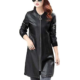 DISSA P7053 Women Faux Leather Long Overcoat Slim Coat Leather Jacket,Black,M,UK 12
