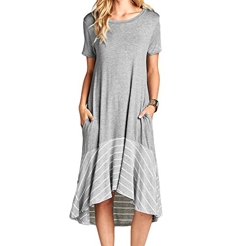 Ancapell Women's Casual Short Sleeve T Shirt Dress Loose Patchwork Midi Dress with Pocket