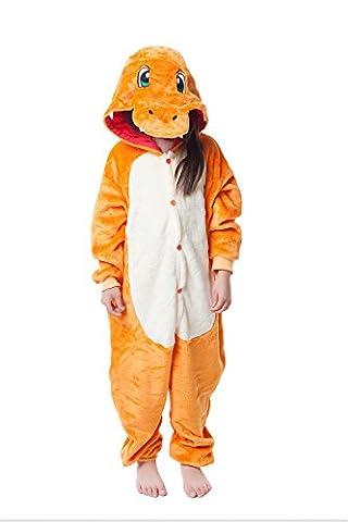 Hotgirldress Childrens Pajamas Animal Onesies Cosplay Homewear (125(Height 135-145cm), Orange Dinosaur)