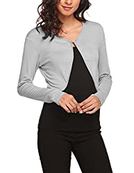 Hotouch Women S Solid Cotton Open Front Cropped Bolero Shrug Cardigan Grey M