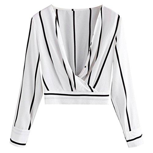 T Strisce ABCone XL Collo Maniche Bianco Camicie Donna Elegante Lunghe Pullover Felpa Autunno Camicette Tops Casual Shirt V S wXFFqx58