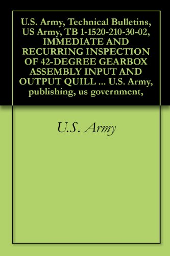 - U.S. Army, Technical Bulletins, US Army, TB 1-1520-210-30-02, IMMEDIATE AND RECURRING INSPECTION OF 42-DEGREE GEARBOX ASSEMBLY INPUT AND OUTPUT QUILL BEVEL ... U.S. Army, publishing, us government,