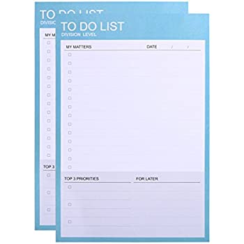 phyxin pack of 2 daily to do lists tear off desk memo paddaily planner and organizer undated 40 sheets73x 49
