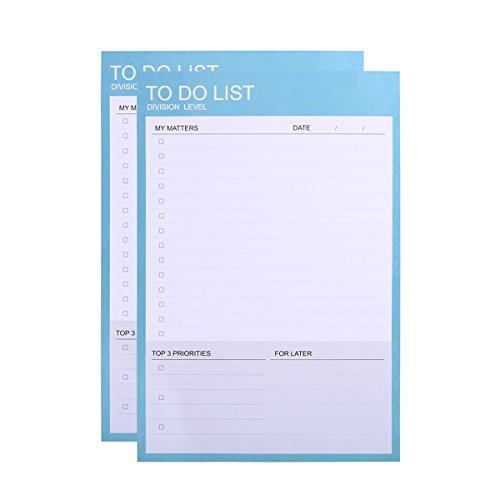 Phyxin Pack Of 2 Daily To do Lists, Tear Off Desk Memo Pad,Daily Planner And Organizer ,Undated ,40 Sheets,7.3x 4.9