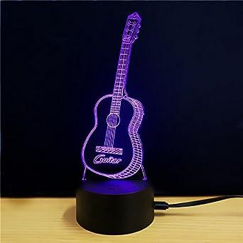 HONGLINToque la luz de noche led colorida, auriculares, guitarra, lámpara USB, lámpara de acrílico colorida llevada 3d, td074: Amazon.es: Iluminación