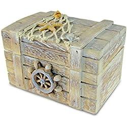 Puzzled Vintage Jewelry Box Nautical Home Décor - Beach Theme Wooden Trinket Storage- Decorative Jewels Organizer - Unique Wood Case Gift and Souvenir - Item #9464