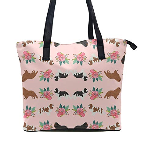 - Beach Bag Extra Large Summer Tote With Handles (Cavalier King Charles Spaniel Pink Florals Floral)