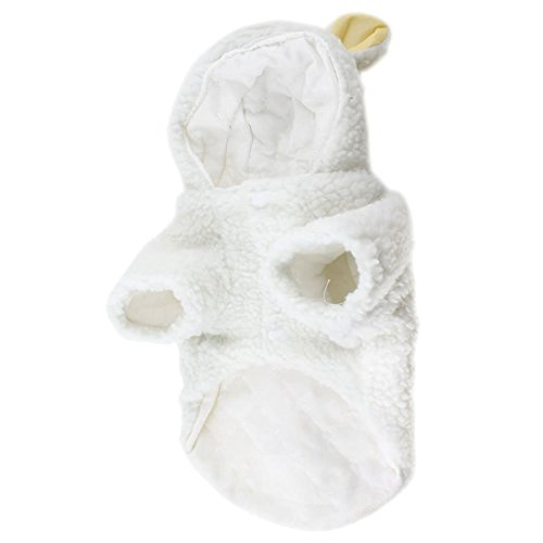 Pet lovely clothes - SODIAL(R) White Sheep Design Press Stud Button Pet Dog Poodle Coat Costume L