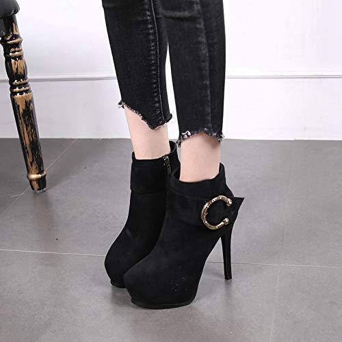 LBTSQ Damenschuhe Wasserdichte Plattform Stiefel Stiefel Stiefel Heel 12 cm Dünne Sohle Mit Stiefeln Winter Sexy Sagte Martin Stiefel 5f8c1d